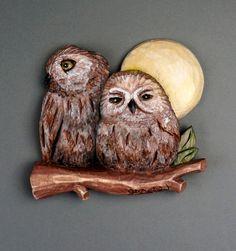 OWL OWL Sculpture Art animal bird Couple Amoureaux by DavydovArt