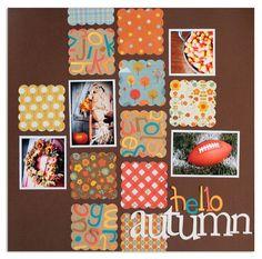 Hello Autumn #scrapbook #layout #grid #punch #scallop #squares