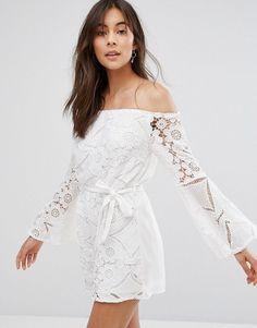Parisian Off Shoulder Lace Romper - White