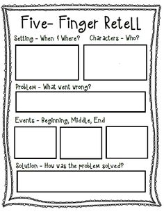 Five-Finger Retell Poster + Worksheet