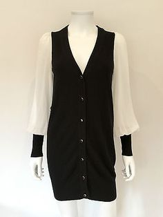 Alice by Temperley Monochrome Soft Long Cardigan / Black & White / RRP: £295.00