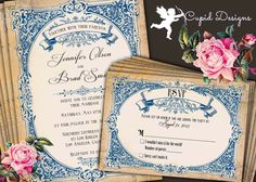 Vintage French Country Rustic Linen Burlap Lace Baroque Blue Teal Antique Elegant Wedding Invitation And