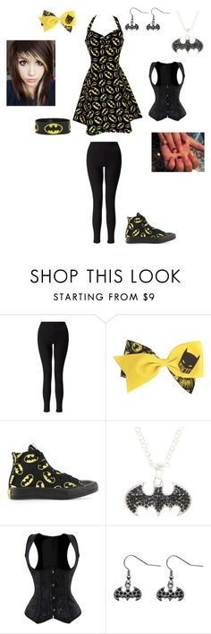 """Fancy Batman"" by serenity-sempiternal2006 ❤ liked on Polyvore featuring Miss Selfridge and Converse"