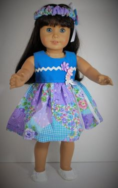 American Girl Doll Dress with Head Piece and White Shoes