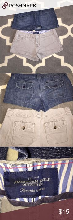 Women shorts Women American eagle shorts,  size 6. 2 pairs for the price of 1... same exact short, different color. American Eagle Outfitters Shorts Jean Shorts