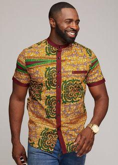 Olu Short Sleeve Mandarin Button-Up African Print Shirt (Green Tortoise Back) African Wear Styles For Men, African Shirts For Men, African Dresses Men, Ankara Styles For Men, African Attire For Men, African Clothing For Men, Latest African Fashion Dresses, African Print Fashion, African Style
