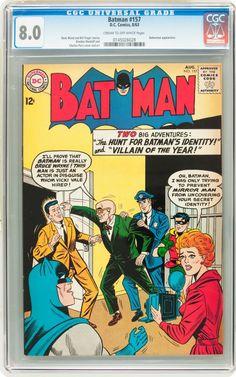 Batman #157;  Issued: August, 1963. The Hunt for Batman's Identity! Characters: Batman; Alfred Pennyworth [as Bruce Wayne]; Vicky Vale; Mirror Man.  www.ephemeritor.com