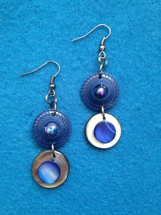 Unique Button Earrings in Navy and Royal Blue Accents, Earrings made from Buttons, Buttons and Beads, Leftover Buttons made into Earrings by CatterflyStudios on Etsy