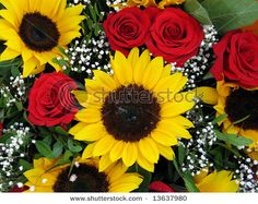 Sunflowers with red roses...not sure how I feel about this
