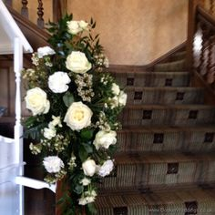 All Ivory Rose and Waxflower Staircase Arrangement at Inglewood Manor Wedding Flowers Liverpool, Merseyside, Bridal Florist, Booker Flowers and Gifts, Booker Weddings Wedding Venue Decorations, Wedding Venues, Rose Wedding, Wedding Flowers, Inglewood Manor, Wedding Website, Grapevine Wreath, Liverpool, Ladder Decor