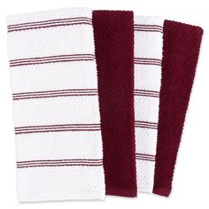 These Piedmont Kitchen Towels are crafted of super soft and very absorbent cotton that will be essential to your kitchen. This set of 8 comes with solid and striped towels that look great to display and put to use. Kitchen Linens, Kitchen Towels, Solid And Striped, Striped Towels, Red Bedding, Red Kitchen, Bed & Bath, Towel Set, Dark Red