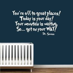 "Amazon.com: Dr Seuss Book-Quote-Vinyl Wall Decal-White-You're Off To Great Places Book Saying Quote Decal Nursery Decor-Sticker Decal-Wall Decal-Home Decor-Wall Sticker-24""-Wall Art-Wall Decor-Wall Sayings-Famous Quotes: Home Improvement"