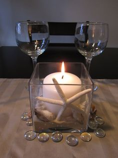 Starfish Square Centerpiece with Pillar Candle and Seashells kit. $35.00, via Etsy.