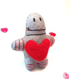 Lovebot 5000 - Pocket Robot Plush Toy Valentine - Gift for Him - Gift for Her. $8.00, via Etsy.