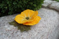 Yellow Poppy Felted Flower Brooch/ Hair Pin by AnnushkaWoolArt