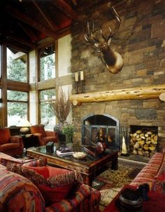 Fireplace for a Mountain Lodge.