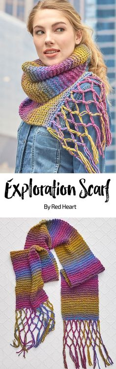 Exploration Scarf free knit pattern in Colorscape yarn. Get ready for adventure with this easy scarf! The macramé knotted fringe elevates this simple garter stitch scarf to the next level!