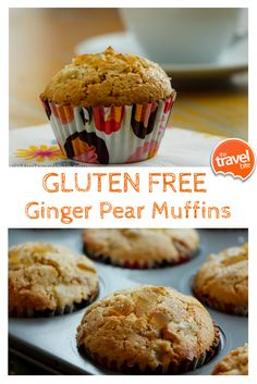 A cake-like recipe for gluten free muffins made with ginger and freshly chopped pears. From food and travel expert Rachelle Lucas of TheTravelBite.com. ~ http://thetravelbite.com