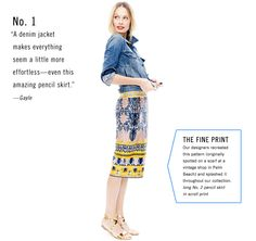 denim w/ pencil print skirt