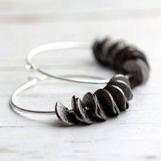 Ruffle Hoop Earrings in Black with Sterling Silver by JarosDesigns
