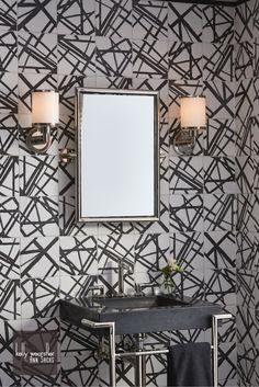 Ann Sacks Carrara Wicker Marble Mosaic With Nero Marquina