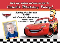 Cars 2 Birthday Invite Boy Disney Parties Celebration