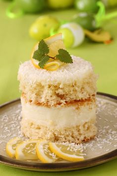 Coconut and Lemon Cream Cake is light, fluffy and decadently laced with fruity flavors. Lemon Cake Image, Lemon Cream Cake, Romanian Desserts, Cake Stock, Cake Images, Pumpkin Bread, Something Sweet, Mini Cakes, Cakes And More