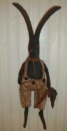 Primitive Grungy Mr. Rabbit Bunny Doll with His Skinny Carrots