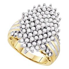 10kt Yellow Gold Round Diamond Oval Cluster Ring for Women 2 Cttw Tiea Oval Diamond, Round Diamonds, Diamond Settings, Cluster Ring, Gold Material, Metal Stamping, Glamour, Fancy, Yellow