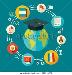 Flat design vector illustration concept for education, online learning, international educational projects, start of successful career for mobile services and web applications - stock vector