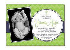 Photo Baptism Invitation Photo Christening Invitation Girl or Boy Modern Chevron Cross DIY Digital or Printed - Gianna Collection. $20.00, via Etsy.