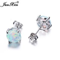 JUNXIN Bohemia Fire Opal Earrings For Women Ladies White Blue Red Amethyst Round White Gold Filled Double Side Stud Earrings