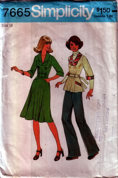 70s Fit and Flare Dress or Top vintage pattern 34-26.5-36 uncut