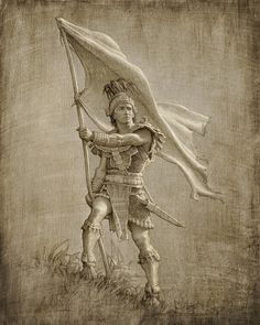 Chief Captain Moroni carries the Title of Liberty.  Artwork by Joseph Brickey.