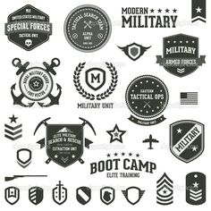 Set of military and armed forces badges and labels #design Download: http://depositphotos.com/14693601/stock-illustration-military-badges.html?ref=5747528