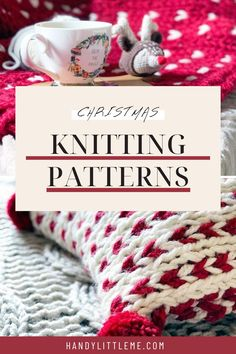 Free Christmas knitting patterns including a Christmas tree skirt, Christmas pillow and a Christmas blanket pattern. #christmaspatterns #christmas #christmasknits #christmascrafts Christmas Tree Pattern, Christmas Knitting Patterns, Christmas Pillow, Christmas Crafts, Knitted Mittens Pattern, Baby Hat Knitting Pattern, Sweater Knitting Patterns, Knitting Projects, Crochet Projects
