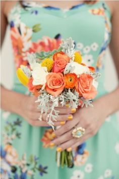 Patterned bridesmaid dress with a bright, informal bouquet -- perfect for a casual summer wedding. Wedding Bridesmaid Bouquets, Patterned Bridesmaid Dresses, Floral Dresses, Patterned Dress, Floral Bridesmaids, Bridesmaid Color, Wedding Dresses, Lily Cole, Airport Wedding