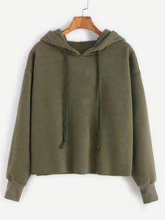 Sweat-shirt à capuche ourlet descente -vert d'armée