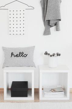 """Kissenbezüge - Kissenbezug """"hello"""" - ein Designerstück von bildschoenesdesign bei DaWanda"""