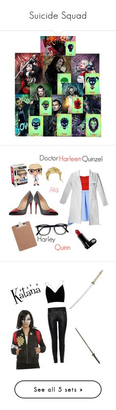 """""""Suicide Squad"""" by mjbol ❤ liked on Polyvore featuring art, Christian Louboutin, Funko, WearAll, Advantus, Alexander McQueen, River Island, Hervé Léger, Melissa McCarthy Seven7 and Jessica Simpson"""