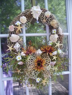 Shell or Seaside door wreath with shells and by ThePetalShop, $49.99