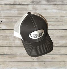 Custom Grey/White Lake Bum Trucker Hat