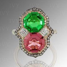 Green Tsavorite and Pink Spinel IVY diamond gold ring. #ivynewyork www.ivynewyork.com