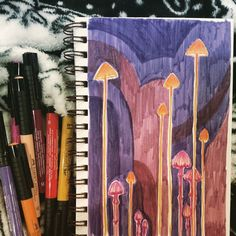 mushrooms on page 1 of a new sketchbook #mushrooms #fungi #mycology #strathmore #visualjournal #bristol #fabercastell #markers #doodle
