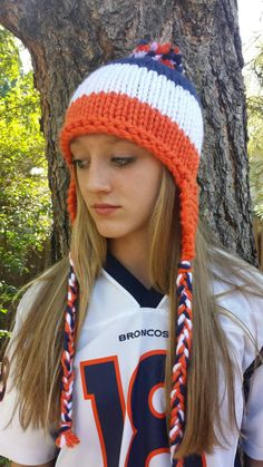 Denver Broncos Blue Orange and White Beanie with by YarnAllOver, $30.00