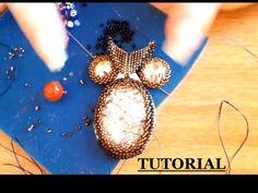 DIY tutorial gufo perline embroidery con rivoli swarovski e cabochon in resina delica - YouTube
