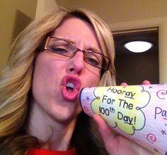 Hooray!  It's the 100th Day Bullhorns - Freebie
