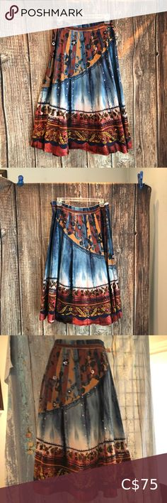 """Denim Skirt, DG 2 Collection - Diane Gilman SZ L Denim Skirt from Diane Gilman, DG 2 Collection New without tags full denim skirt. Looks like panels denim but everything is actually printed on the stretch denim. Beautiful colors for fall would be great with boots and a sweater. Side zipper, no pockets. Cotton/Spandex blend, Machine washable Measurements with skirt laying flat Waist: 18 1/4"""" Length: 29"""" Zipper: 7 1/2"""" Sweep: 57 1/4"""" If you have any question, please ask! POSH#48 Diane Gilman… Silk Skirt, Denim Skirt, Green Pumps, Denim Purse, Navy Dress, Silk Top, Stretch Denim, Cotton Spandex, Tie Dye Skirt"""