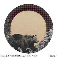 Lumberjack Buffalo Plaid Bear Rustic Cabin