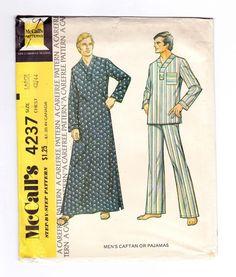 Mens Caftan, Mens Pajamas, Size Large, Chest 42-44, Uncut Mens Pattern, Mens Sewing Patterns